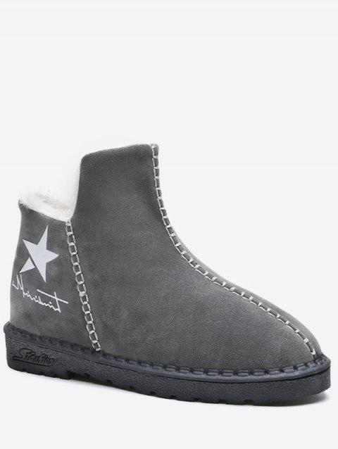 Star Print Suede Ankle Boots - GRAY EU 40