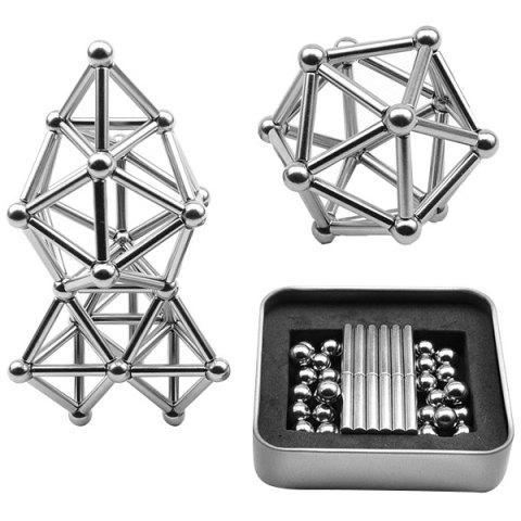 Buck Magnetic Bar Set of Iron Boxed Educational Toys with Metal Magnet Blocks 36 Rods 27 Balls - SILVER