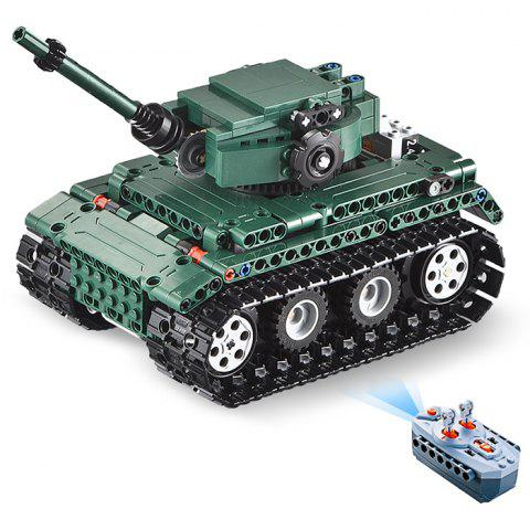 CaDA C51018 DIY Puzzle Strong Power Remote Control Crawler Tank Toy for Children - GRAYISH TURQUOISE