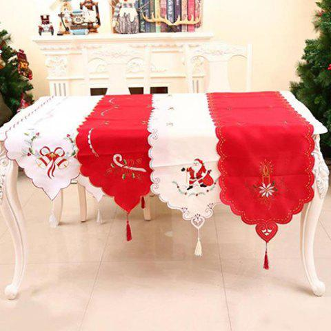 Christmas Living Room Table Embroidered Openwork Tablecloth Table Flag - multicolor A
