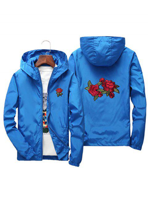 Men Rose Embroidery Outdoor Couple Jacket with Cap - BLUE XL