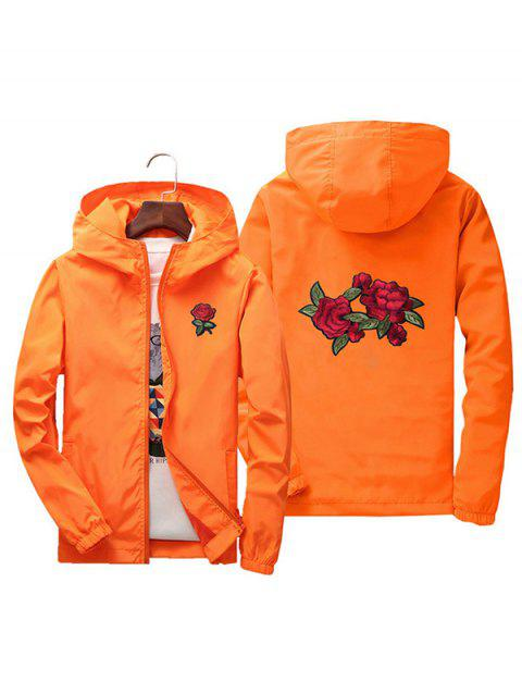 Men Rose Embroidery Outdoor Couple Jacket with Cap - TIGER ORANGE XL