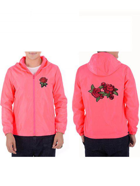 Men Rose Embroidery Outdoor Couple Jacket with Cap - PINK 2XL