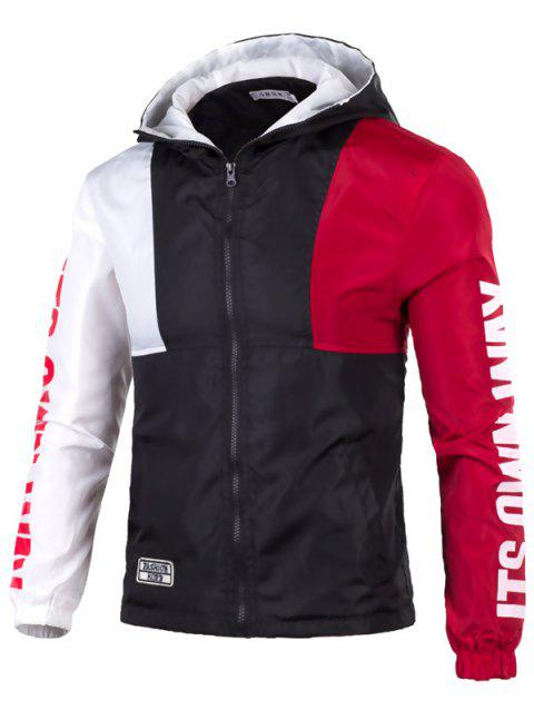 Casual Color Matching Sports Jacket - RED XL