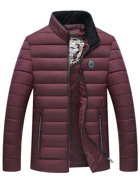 Down Cotton Men Thick Winter Jacket Down Coat - RED WINE L