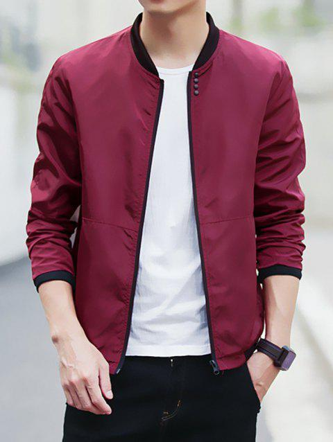 Baseball Jacket Casual Coat for Men - RED WINE 3XL
