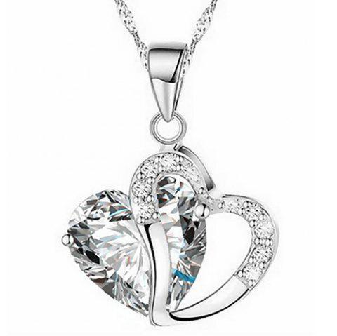 Heart Shaped Artificial Crystal Clavicle Necklace - WHITE