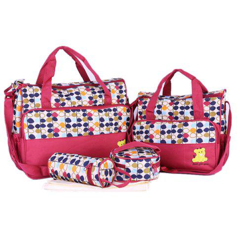 8816E Fashion Print  Five-Piece Set Mommy Use Mummy Bag Set - RED WINE L