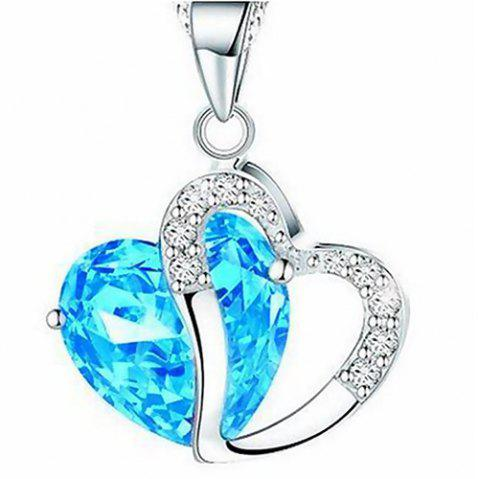 Heart Shaped Artificial Crystal Clavicle Necklace - SKY BLUE
