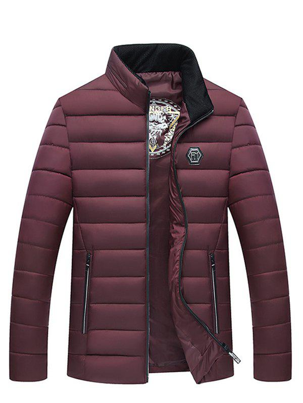 Down Cotton Winter Thickness Jacket for Men - RED WINE 2XL