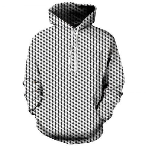Winter Long Sleeve Digital Print Hooded Men's Geometric Sweatshirt - multicolor L