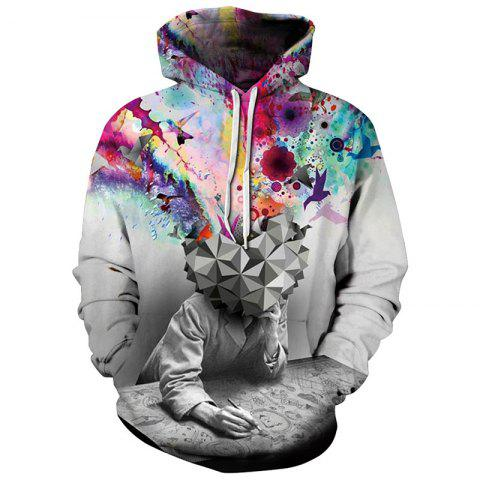 Winter Men's  Digital Print Long Sleeve Spoof Color Sweatshirt - multicolor XL