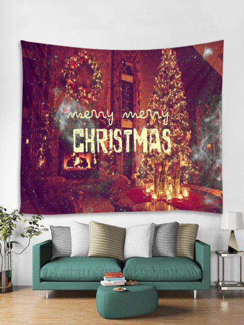 Merry Christmas Theme Pattern Tapestry Art Decoration - RED W91 X L71 INCH