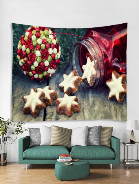 Christmas Flower Ball Star Pattern Tapestry Art Decoration - BURLYWOOD W79 X L71 INCH