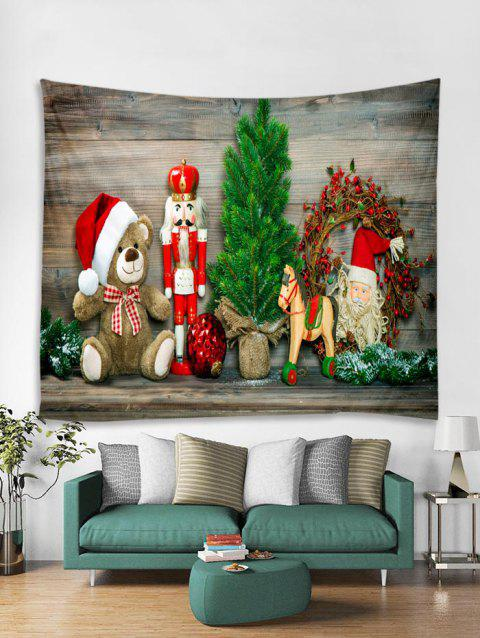 Father Christmas Bear Wooden Pattern Tapestry Art Decoration - BURLYWOOD W91 X L71 INCH