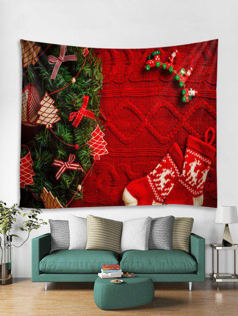 Christmas Tree Stocking Pattern Tapestry Art Decoration - RED W79 X L71 INCH