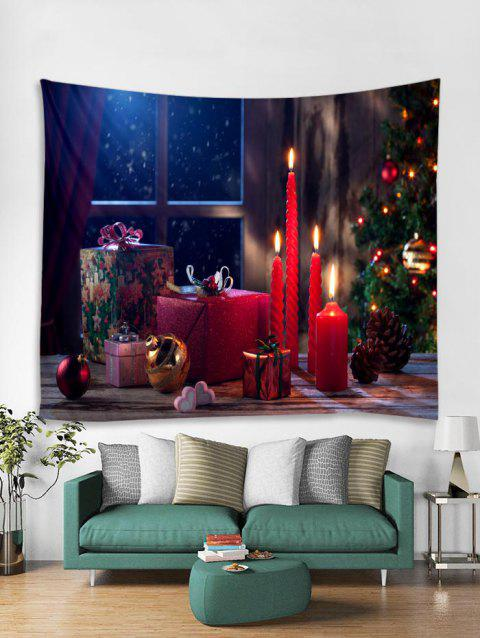 Christmas Gift Candle Pattern Tapestry Art Decoration - LAVA RED W91 X L71 INCH