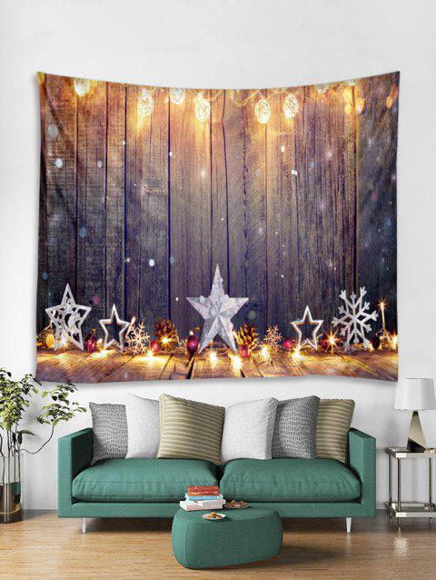 Christmas Star Snowflake Wooden Pattern Tapestry Art Decoration - TAN W91 X L71 INCH