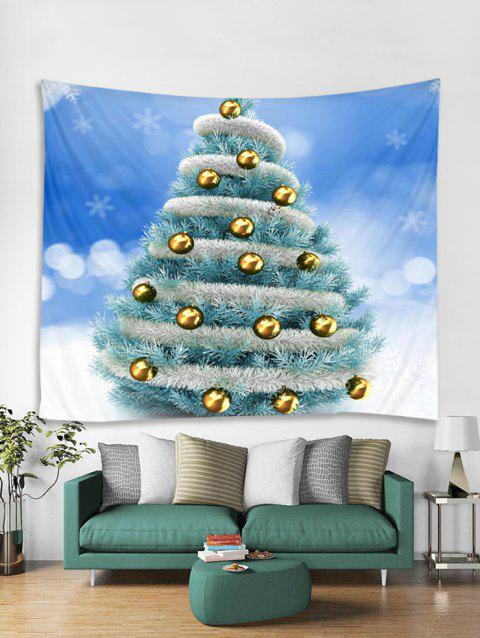 Christmas Tree Snowflake Pattern Tapestry Art Decoration - DAY SKY BLUE W71 X L71 INCH