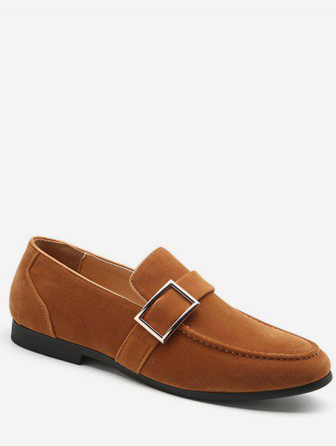 Buckle Detail Suede Loafers Shoes - ORANGE GOLD EU 44