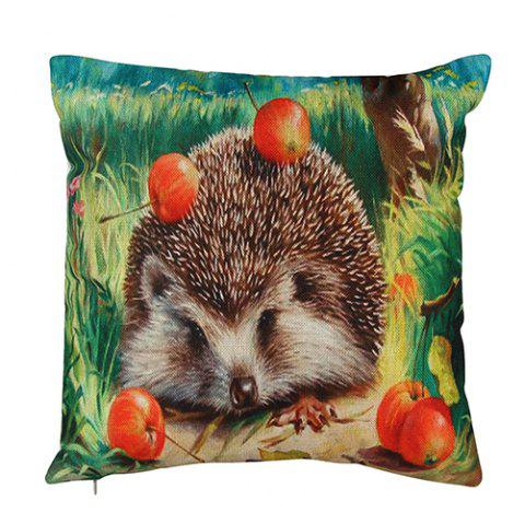 9 - T4770 Linen Hedgehog Pattern Pillowcase - multicolor A