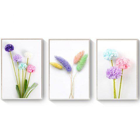 Simple And Small Fresh Flower Plant Decoration Painting Fashion Dog Tail Flower Nordic Restaurant Triptych Painting with Frame - WHITE