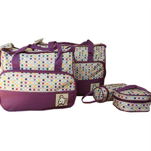 8816D Dot Print Mummy Bag Five-piece - PURPLE L