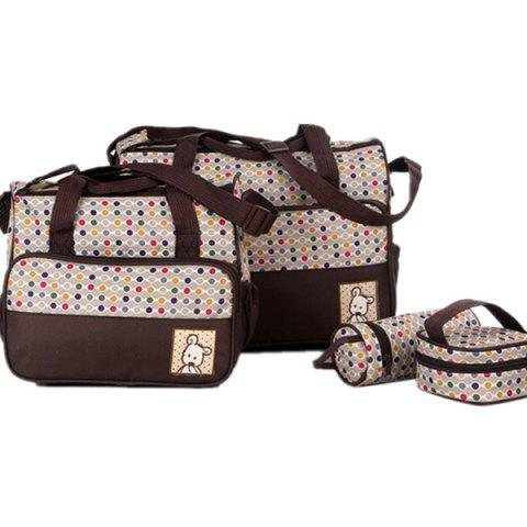 8816D Dot Print Mummy Bag Five-piece - COFFEE L