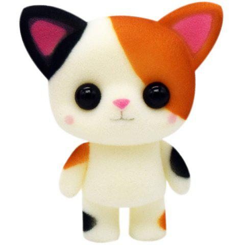 Cartoon Doll Small Flower Cat Flocking Toy Girl Decorative Ornaments Creative Doll - multicolor D