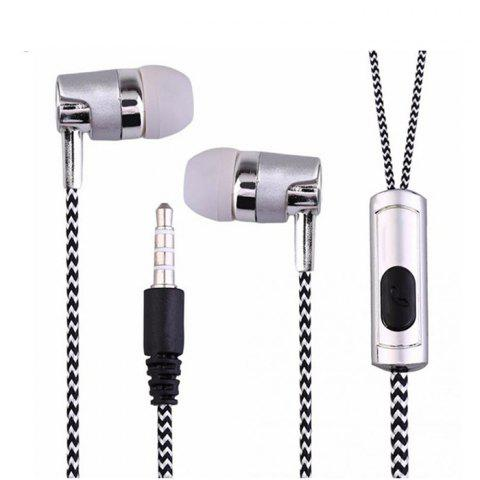 Electroplated Braided Wiring with Wheat Wire Control Call Headset - SILVER