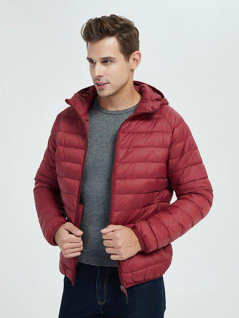Light Thin Down Cotton Coat Winter Jacket for Men - RED WINE XL