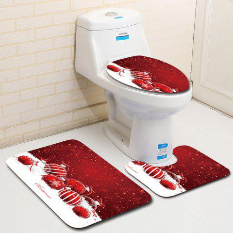 Dl2011 Christmas Snowman Bathroom Toilet Floor Mat Door Mat Toilet Seat 3pcs - multicolor A