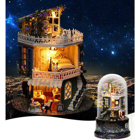 Dust Cover DIY Music Small Doll House Miniature Kit Rotating Box - multicolor