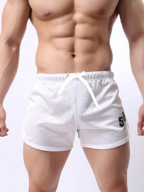 Men Mesh Breathable Quick-drying Beach Pants Double-layer Lace Sports Fitness Running Shorts - WHITE L