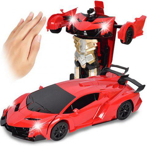 Gesture Sensing Robot One Button Transformation Remote Control Car Toy - RED