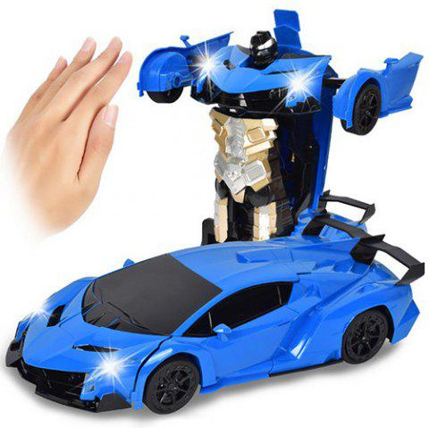 Gesture Sensing Robot One Button Transformation Remote Control Car Toy - OCEAN BLUE