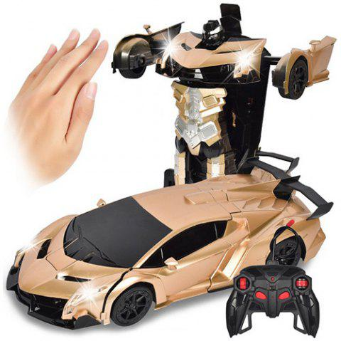 Gesture Sensing Robot One Button Transformation Remote Control Car Toy - GOLD