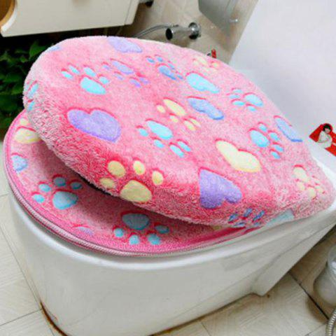 Thick Flannel Cat Claw Pattern Toilet Cushion 2pcs - FLAMINGO PINK