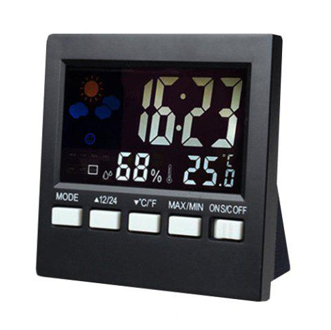 Electronic Dry Wet Thermometer Indoor High Accuracy Temperature Humidity Acoustic Sensor Clock - BLACK