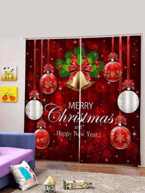 2PCS Merry Christmas Bell Ball Pattern Window Curtains - RED WINE W30 X L65 INCH X 2PCS