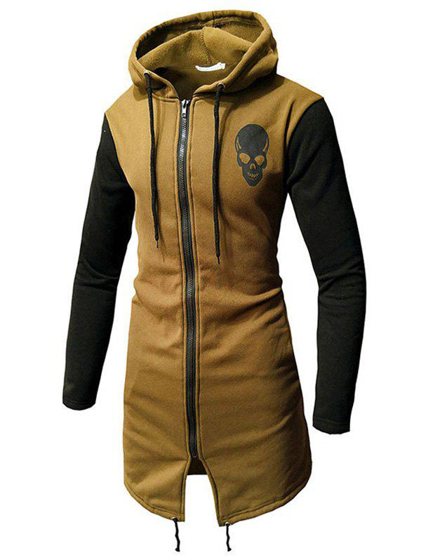 Men Fashionable Skull Printing Medium Style Cardigan - KHAKI L