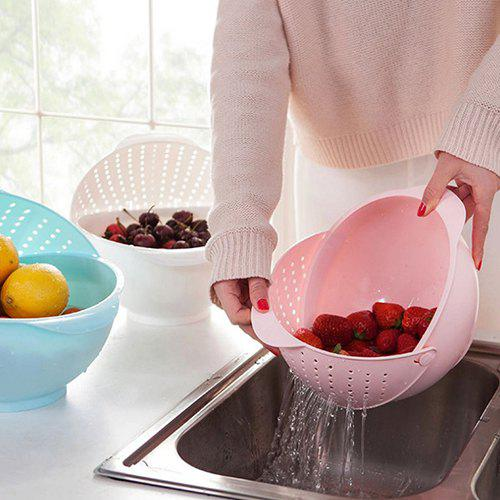 Thickened Kitchen Flip Cover Rotating Dish Washer / Drain Basket - PIG PINK