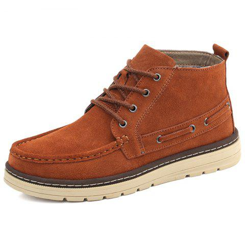 Men High-top Velvet Warm shoes - BROWN EU 43
