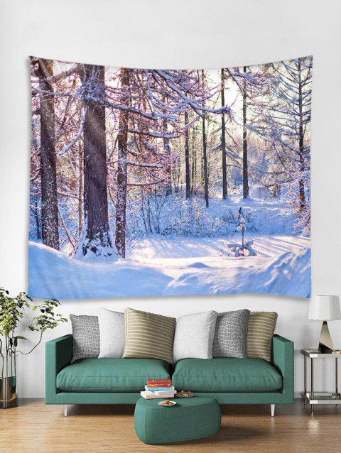 Christmas Snow Forest Tapestry Art Decoration - WHITE W91 X L71 INCH