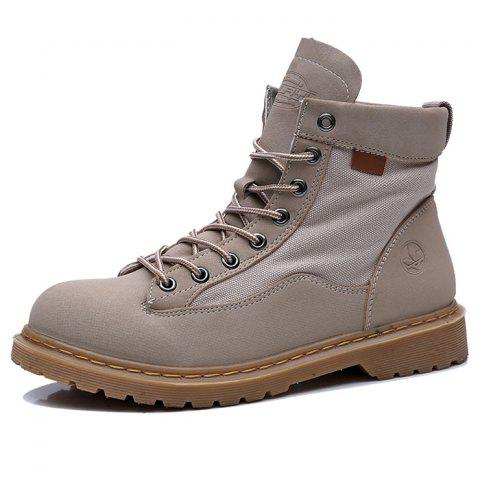 Leisure High-top Men Boots Wearable Lace-up - GRAY GOOSE EU 39