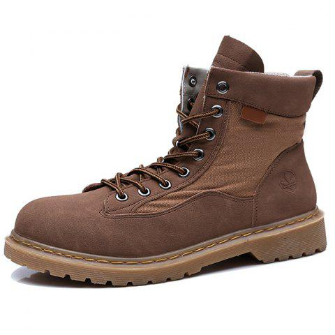 Leisure High-top Men Boots Wearable Lace-up - BROWN EU 43