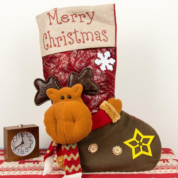 Large Three-dimensional Christmas Stockings Christmas Sock Gift Bags Christmas Candy Bags Christmas Day Decorations - RED LITTLE DEER