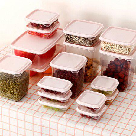 Food Storage Box Kitchen Finishing Storage Sealed Box 17PCS, Lipstick pink