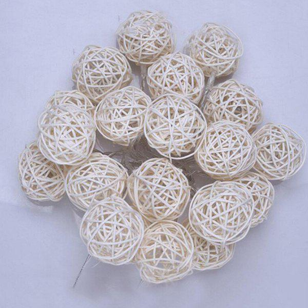 3 Meters 30LED White Rattan Ball String Holiday Decoration Lights Christmas Lights String Cool White Battery - COOL WHITE