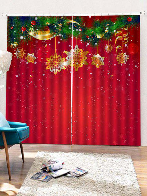 2PCS Christmas Snowflake Window Curtains - LAVA RED W30 X L65 INCH X 2PCS